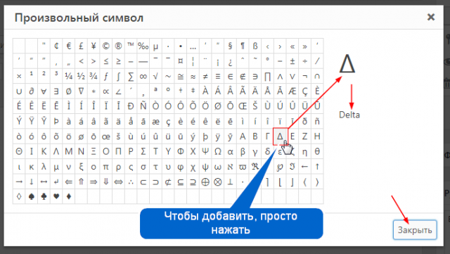 Произвольный символ форматирование текстов WordPress
