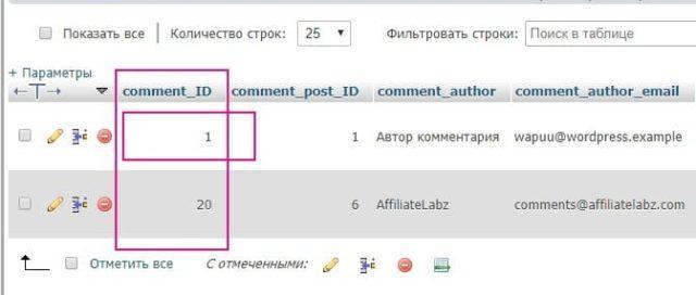 ID комментария в базе данных