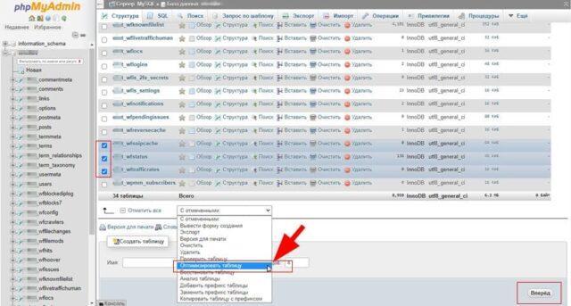 Оптимизация базы данных WordPress в phpMyAdmin